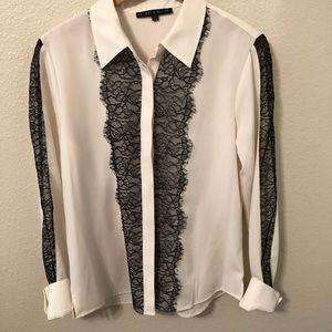 Antonio Melani Ivory black lace blouse M